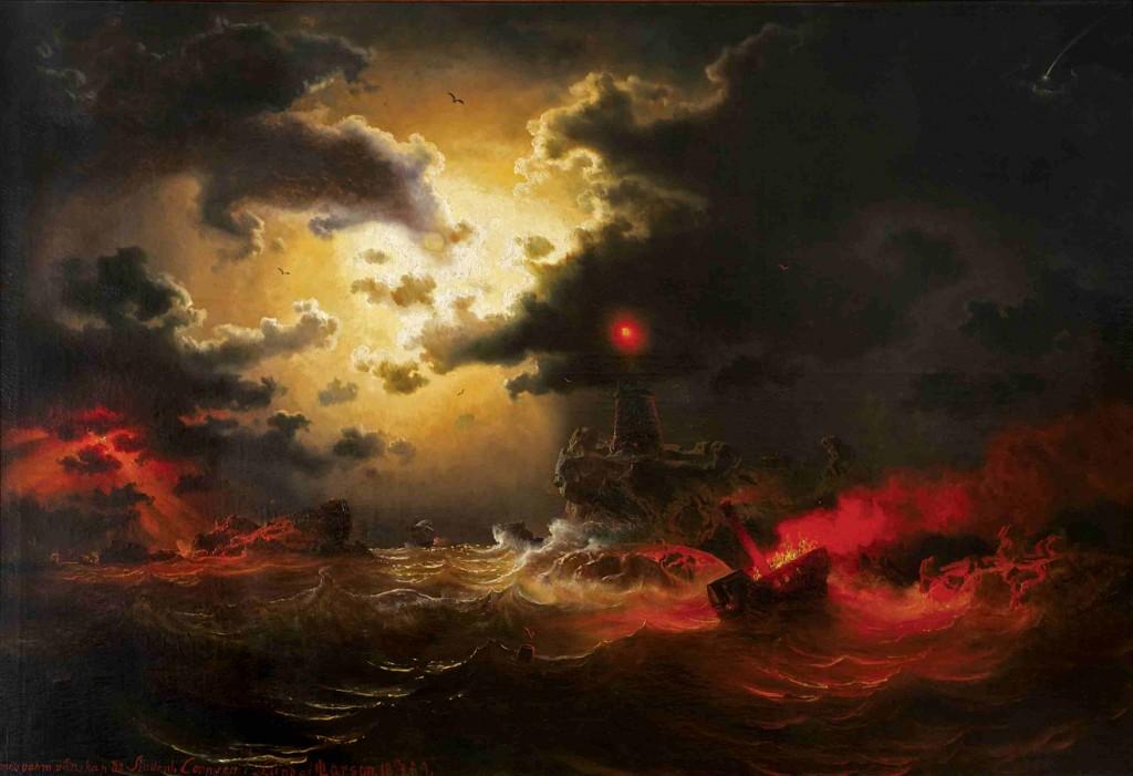 """Marcus Larson, """"Hav i månsken med fyr och brinnande ångfartyg"""", 1859. Foto: Liljevalchs konsthall"""