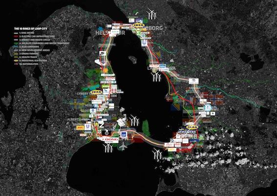 Loop City, Öresundsregionens tio ringar. Bild: BIG - Bjarke Ingels Group