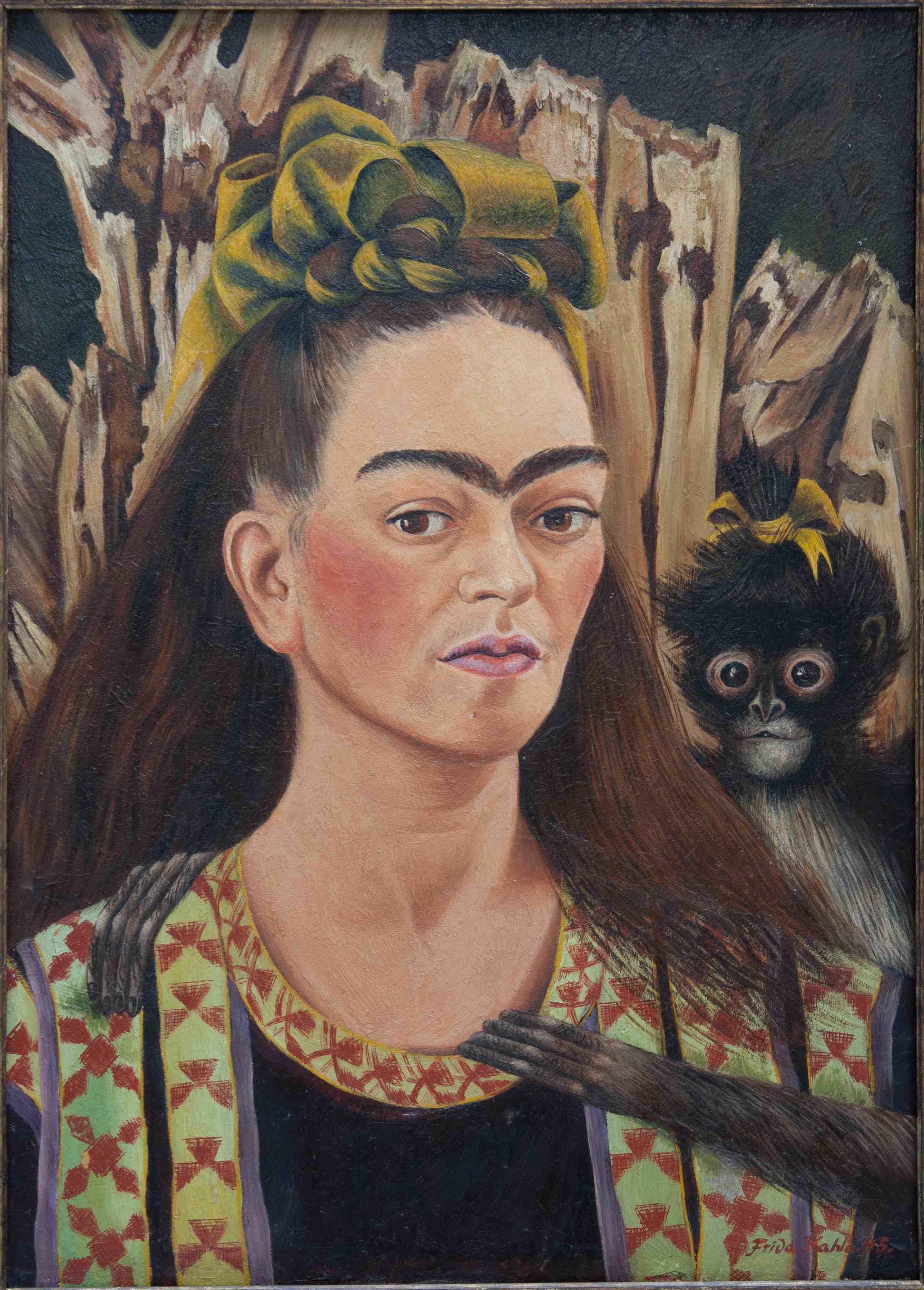 Självporträtt med apa, Frida Kahlo, 1945. Foto: Antonio Berlanga/Louisiana