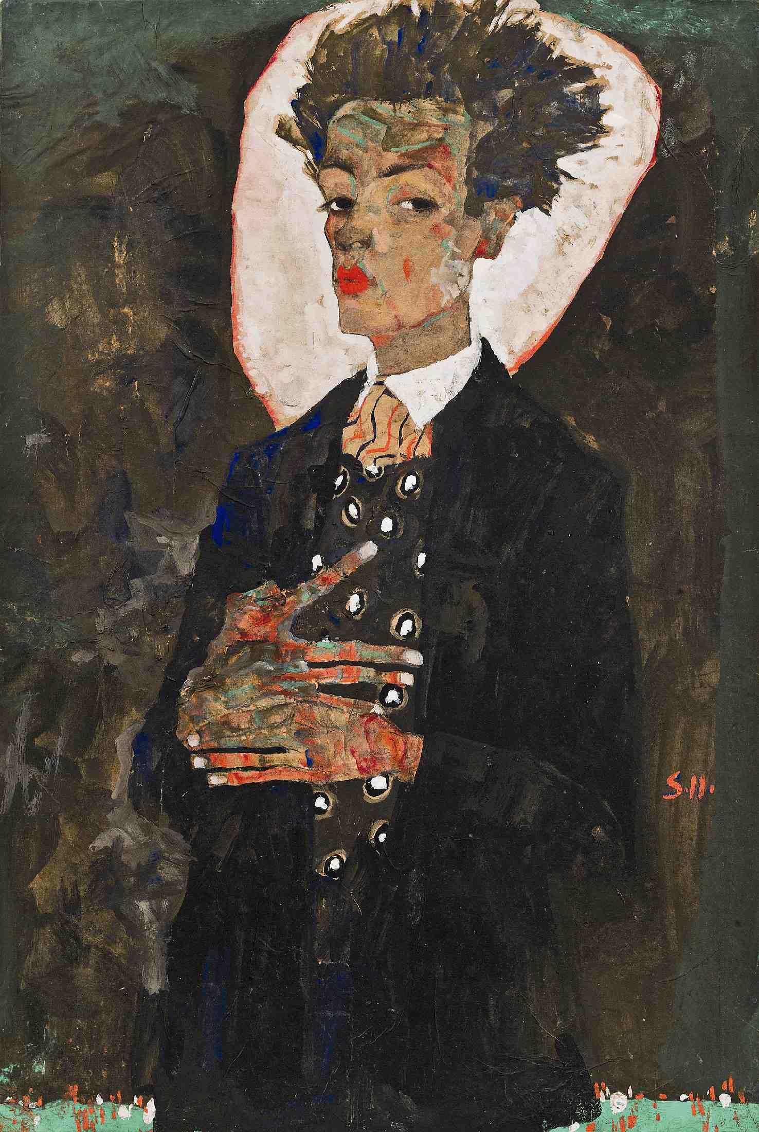Självporträtt med påfågelväst, Egon Schiele, 1911. Foto: Louisiana